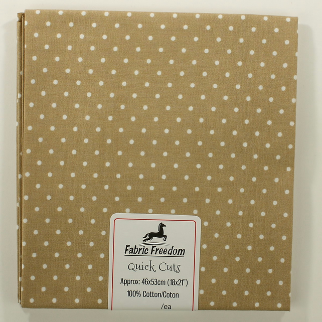 Quick Cuts - Cotton Poplin - Fawn with White Spots - Fat Quarter
