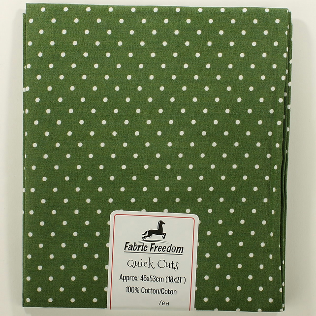 Quick Cuts - Cotton Poplin - Forest Green with White Spots - Fat Quarter