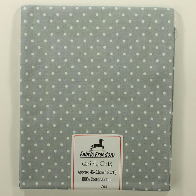 Quick Cuts - Cotton Poplin - Grey with White Spots - Fat Quarter