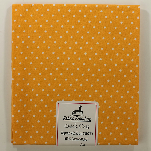 Quick Cuts - Cotton Poplin - Mustard with White Spots - Fat Quarter