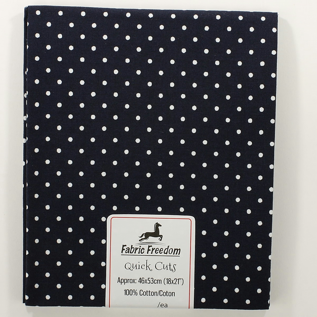 Quick Cuts - Cotton Poplin - Navy with White Spots - Fat Quarter