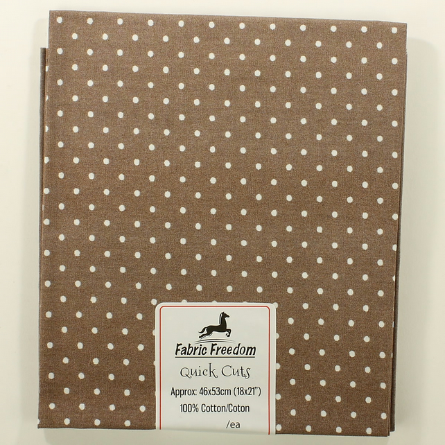 Quick Cuts - Cotton Poplin - Taupe with White Spots - Fat Quarter