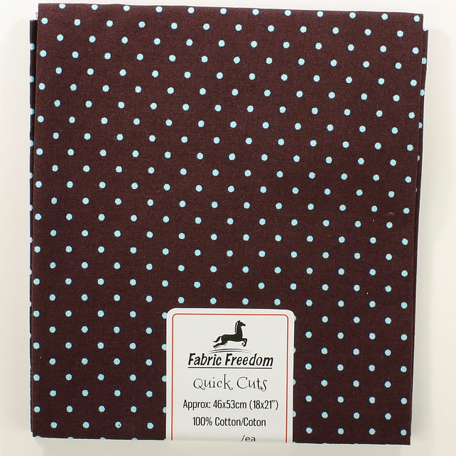 Quick Cuts - Cotton Poplin - Dark Brown with Pale Blue Spots - Fat Quarter
