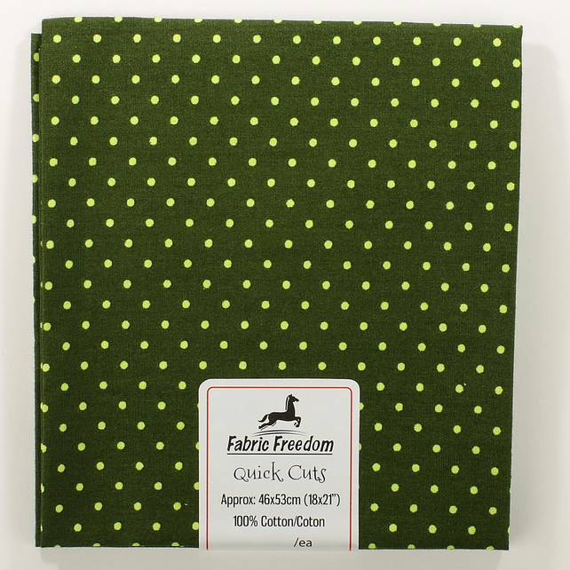 Quick Cuts - Cotton Poplin - Dark Green with Lime Spots - Fat Quarter