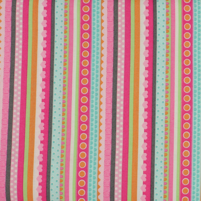 Marcus Fabrics - Girly O Saurus - Stripes - Fat Quarter