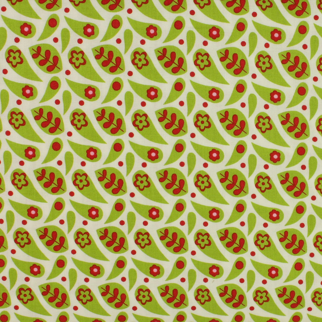 Fabric Freedom - Funky Flowers - Green on White - Fat Quarter