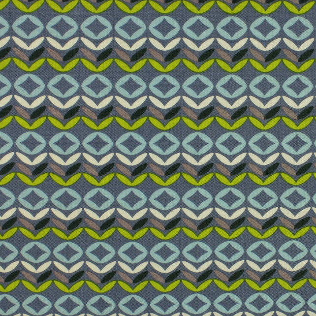Fabric Freedom - Retro Floral - Geometric on Blue - Fat Quarter