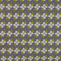 Fabric Freedom - Retro Floral - White Flower on Lilac - Fat Quarter
