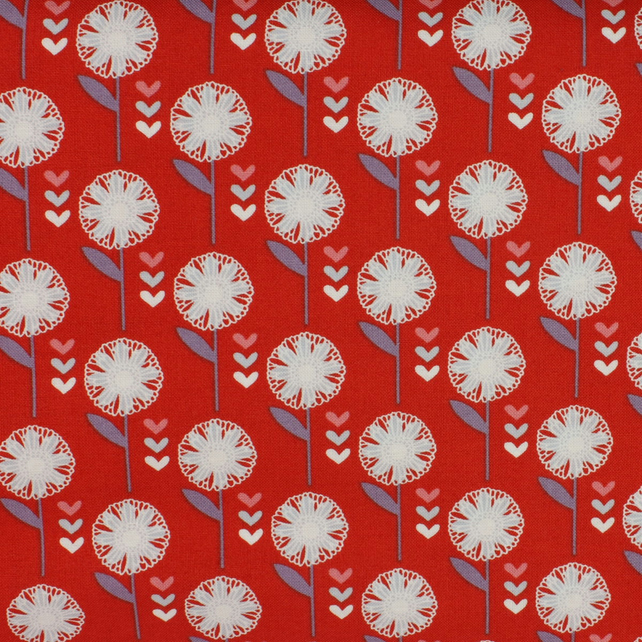 Fabric Freedom - Retro Floral - White Flower on Red - Fat Quarter