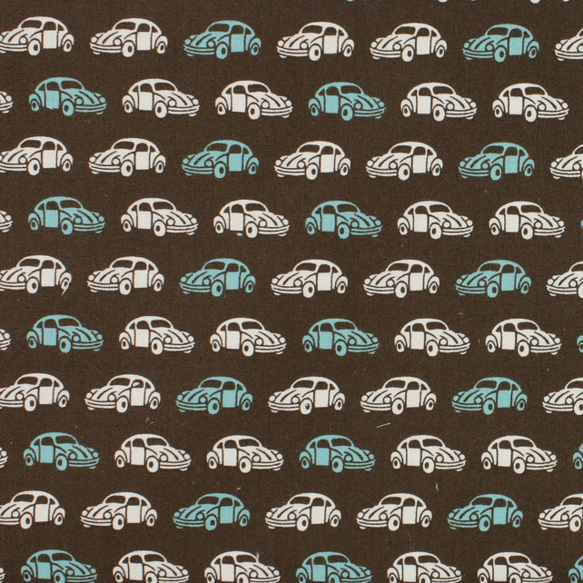 Sevenberry - Beetle Car on Brown - Fat Quarter