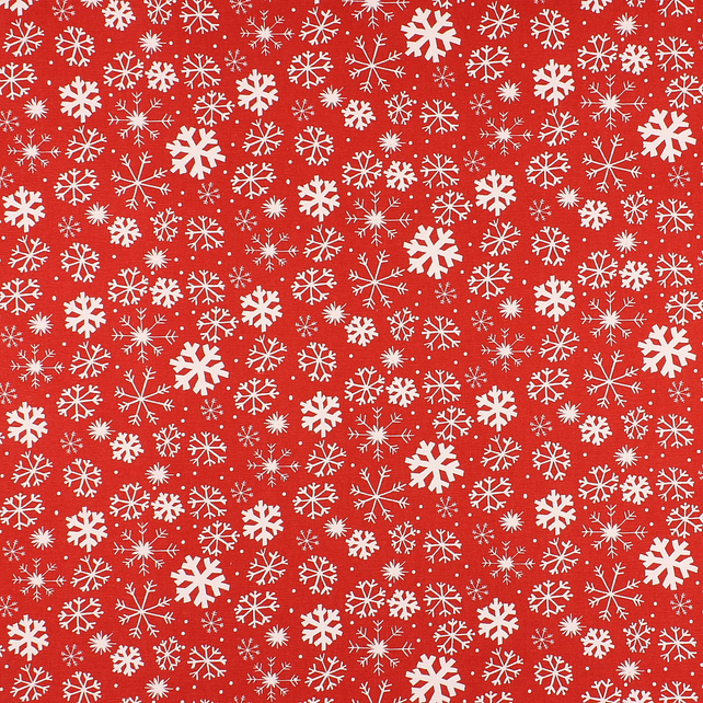 Christmas Snowy - Red - half metre length