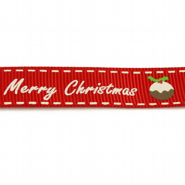 Christmas Ribbon - Merry Christmas Pudding - 16mm