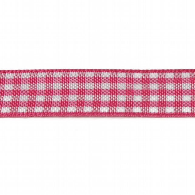 Berisfords Gingham Ribbon - Shocking Pink - 15mm