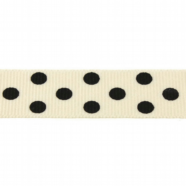 Berisfords Spotty Grosgrain Ribbon - Natural with Black spots - 15mm