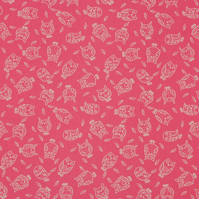 Fabric Freedom - Cotton Poplin - Little Owls - Pink - Fat Quarter