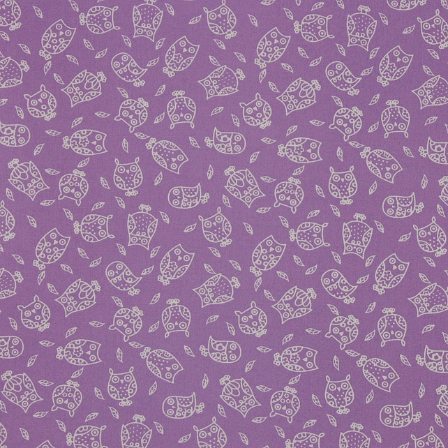 Fabric Freedom - Cotton Poplin - Little Owls - Lavender - Fat Quarter