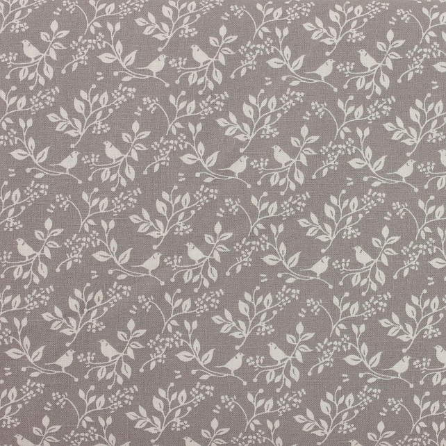 Fabric Freedom - Silhouette Floral - White Floral & Bird on Grey - Fat Quarter