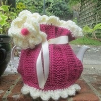 Hand Knitted Tea Cosie .. Pretty in Pink
