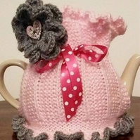 Hand Knitted Tea Cosie .. Pink Candy