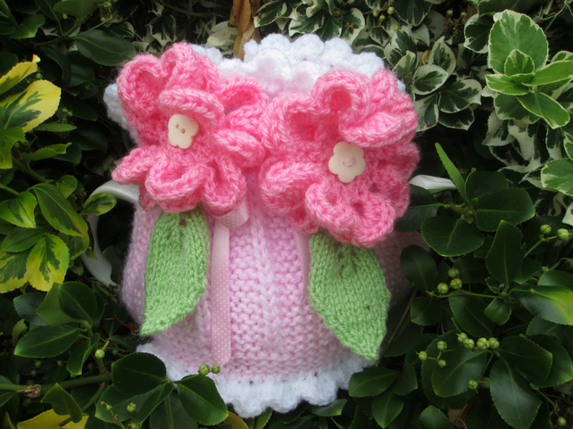 Knitted Tea Cosie Pink Candy