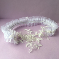 Handmade see through beaded lace wedding garter