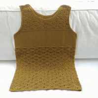 Knitted, golden mustardy lace summer tank top UK size M