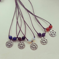 Pagan wiccan silver pentacle protection charm and gemstone cord necklace