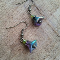 Peacock Tamarind Flower Glass Earrings