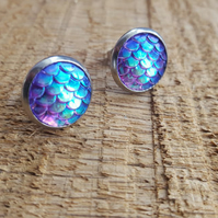 Mermaid scale hypoallergenic stainless steel stud earrings