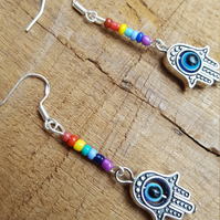 Handmade Rainbow Chakra All Seeing Eye Hamsa Hand earrings