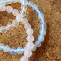 Beaded stacking stretch bracelet set Opalite, Rose quartz and clear quartz