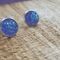 Faux druzy quartz purple cabochon hypoallergenic stud earrings