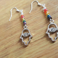 Handmade chakra crystal and rainbow glass bead hamsa hand earrings