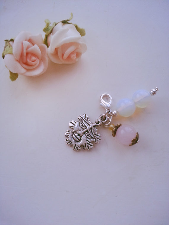 Handmade rose quartz, opalite and green man pagan clip on charm