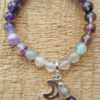 Handmade stretch ombre Amethyst and Fluorite beaded charm bracelet