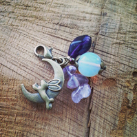 Opalite moonstone and Amethyst Rabbit moon charm