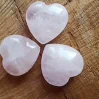 Small Rose Quartz crystal hearts