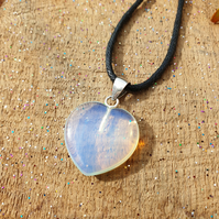 Opalite moonstone heart choker necklace