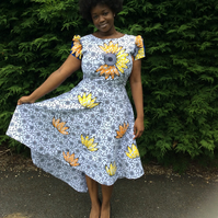 Hi to the Low embossed poly cotton and Dutch wax print dress, Ankara dress.