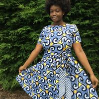 Bola Dress, Grey, black and Yellow Dutch Wax print Skater Dress with belt