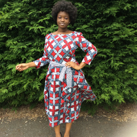 1952 Vintage Inspired in Dutch Wax dress with a contrasting fabric belt