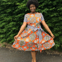 Ola Dress, in Dutch wax print and rose and Hubble stripes