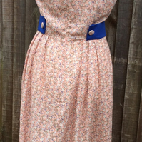 Vintage Style Pink Floral Cotton Viscose mix Dress
