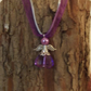 Fairy charm necklace purple organza and silver satin F