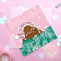 """Brussel Sprout Kisses"" Christmas Guinea Pig Card"