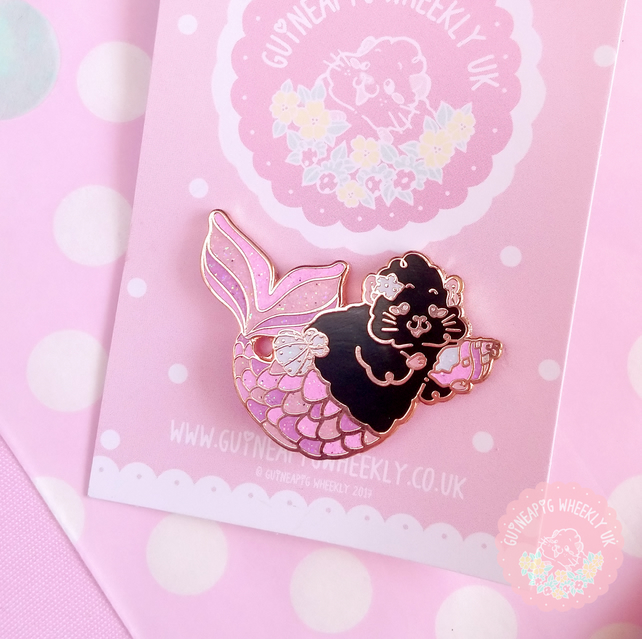 Guinea Pig Enamel Pin - Black Mermaid piggy