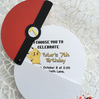 Pokemon Birthday Invitation, Pokemon Ball Handmade invitation Set of 10 invites