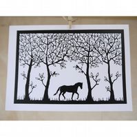 Horse in Woodland - greetings card