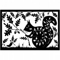 Acorn Squirrel papercut - Print 10 x 6.5 inches