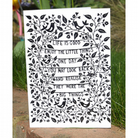 Life is Good Papercut - Greetings Card